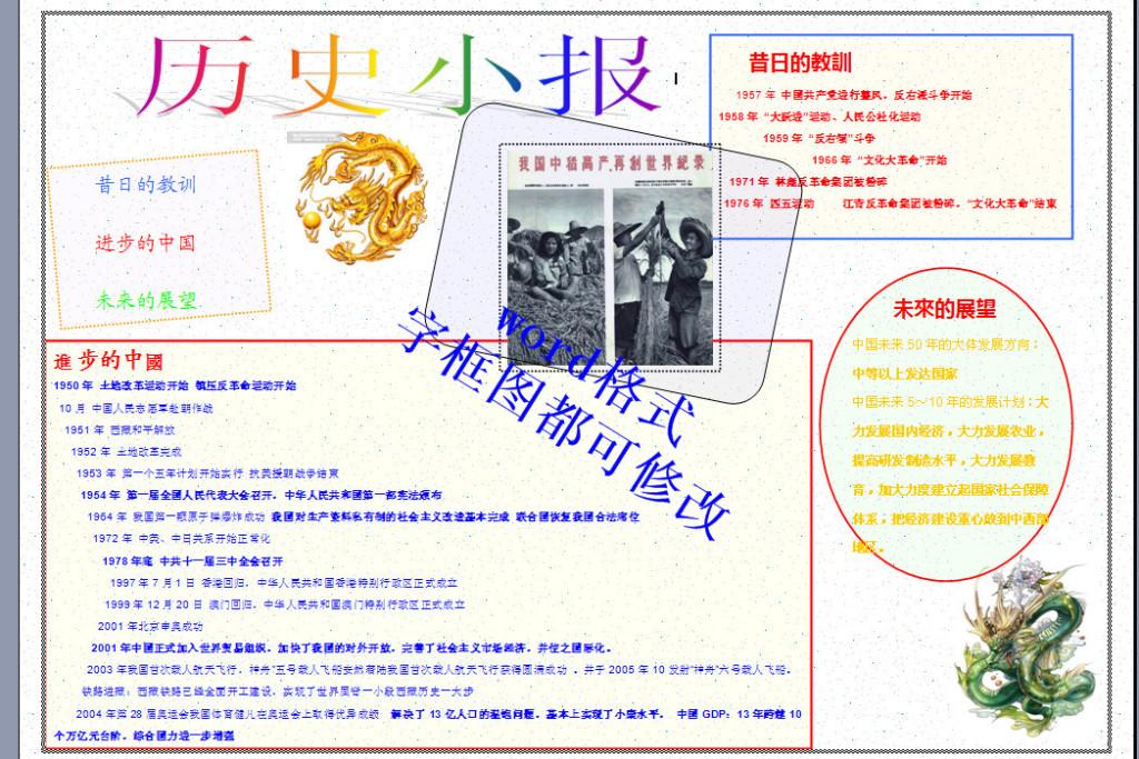 a3历史小报电子小报模板