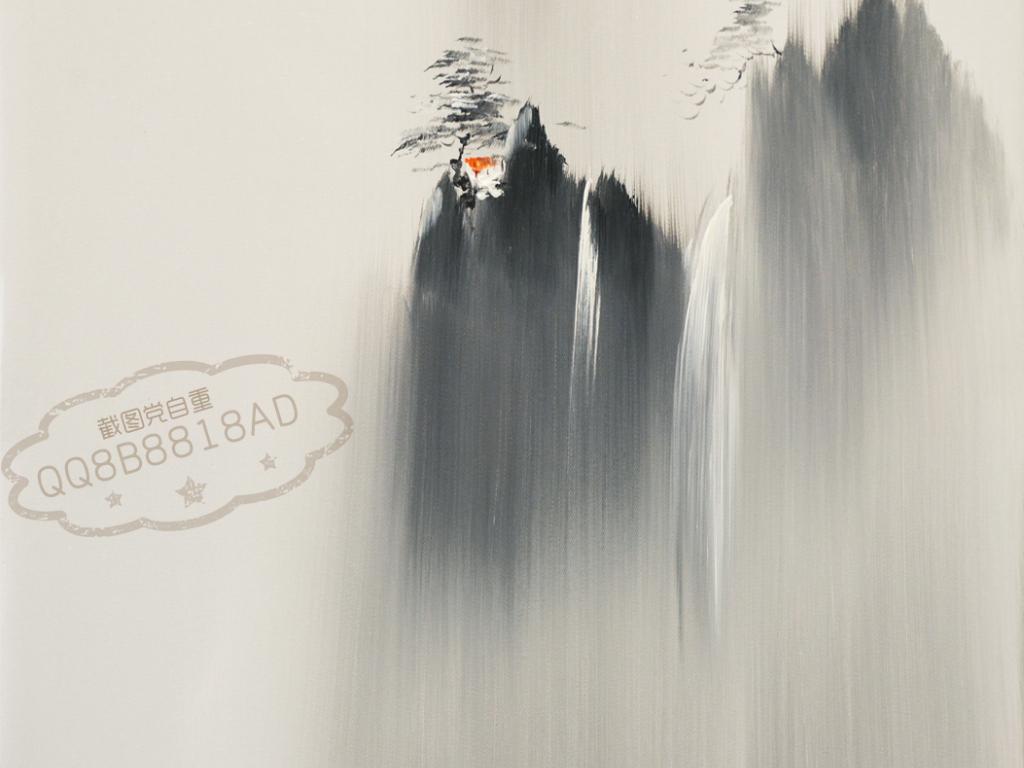 设计作品简介: 雅致写意山水中式油画艺术玄关 位图, rgb格式高清大图图片