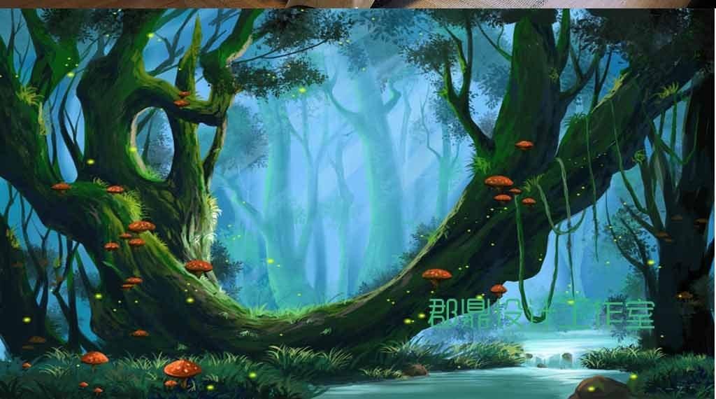 动物风景山水巨幅个性大树蘑菇奇幻幼儿园背景幼儿园班牌幼儿园招生简