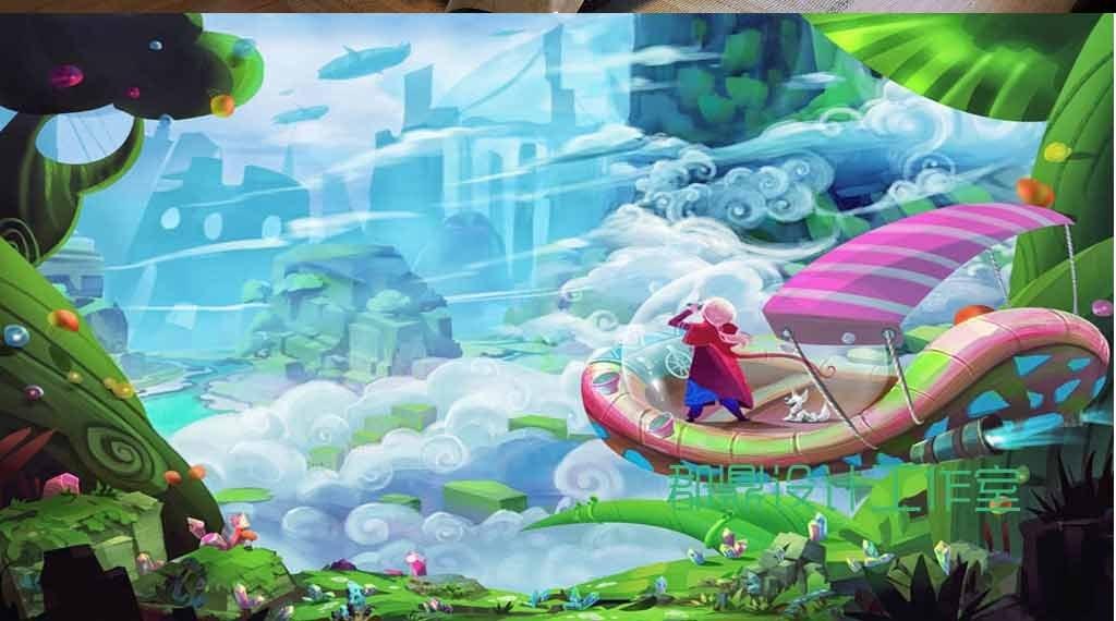 梦幻小船图片手绘