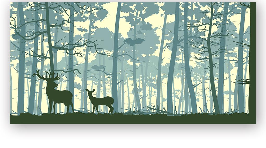 北欧森林麋鹿矢量背景墙