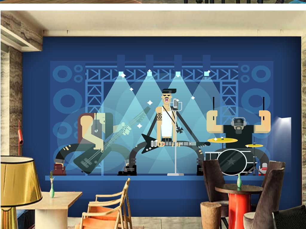 摇滚音乐矢量背景墙