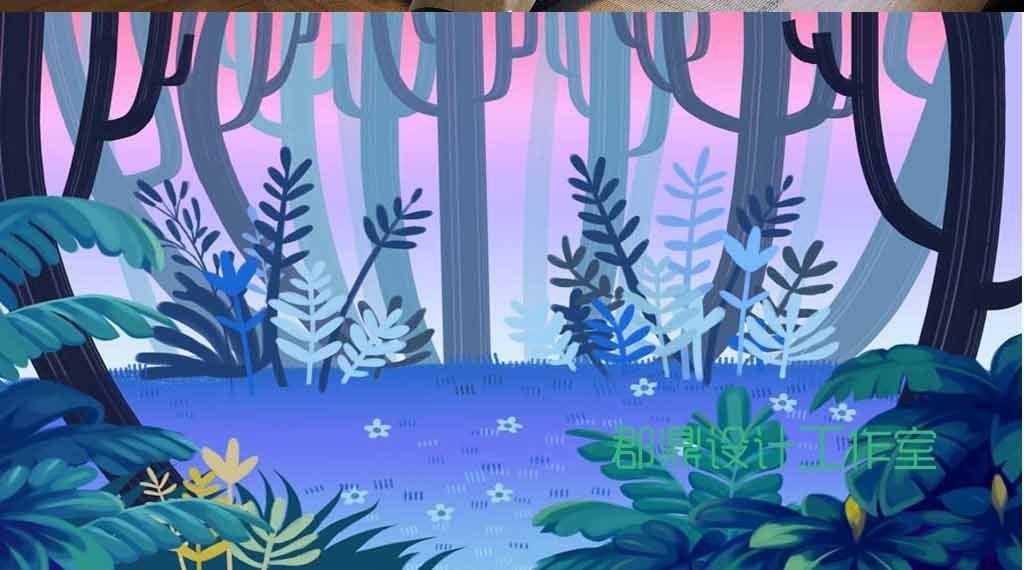 奇幻森林手绘水彩抽象树木