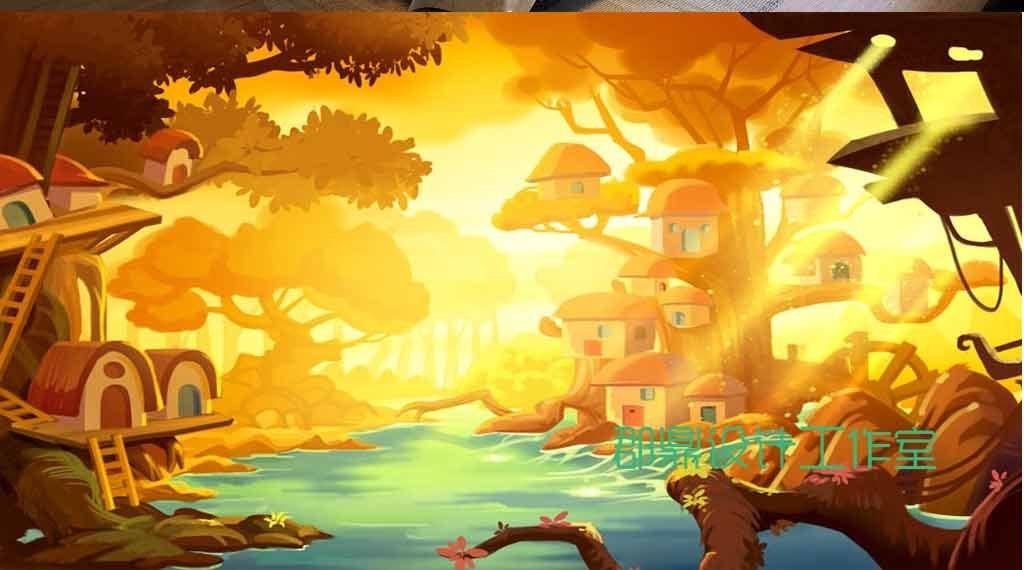 奇幻森林卡通动漫绘画朝阳照射树屋