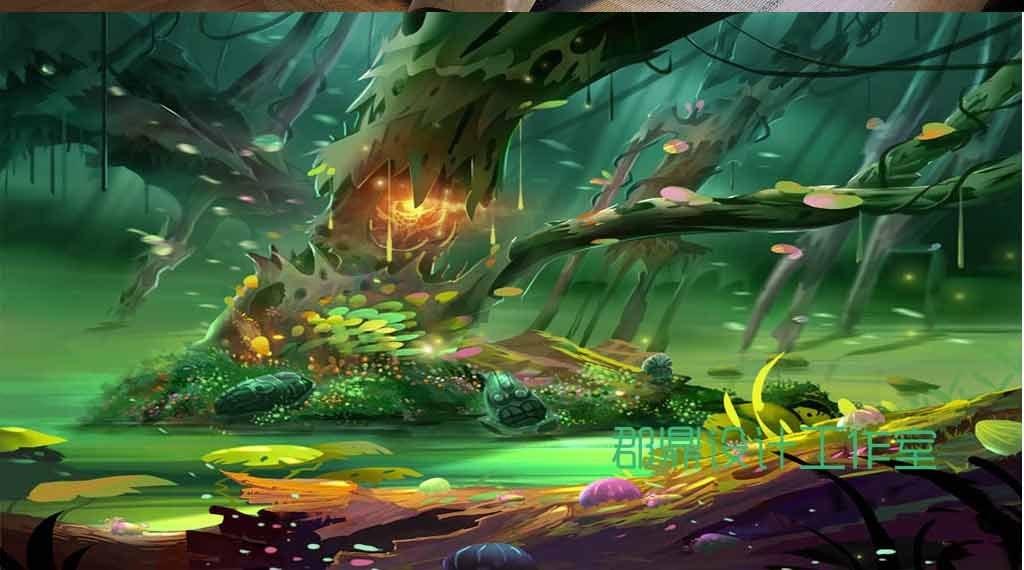 奇幻森林卡通绘画森林里的精灵