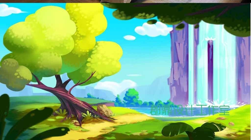 卡通绘画森里里的瀑布
