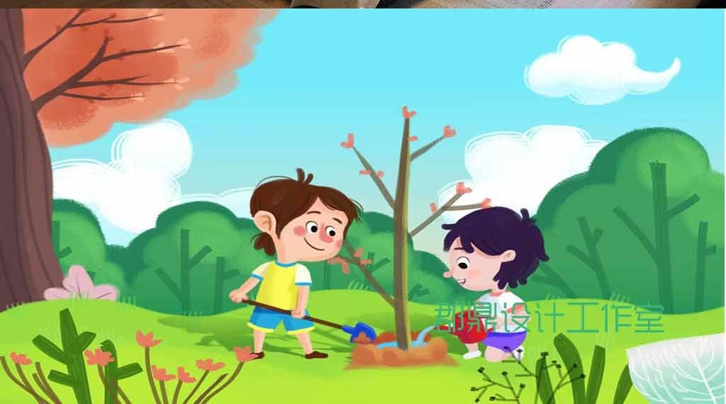 卡通绘画植树节的小学生
