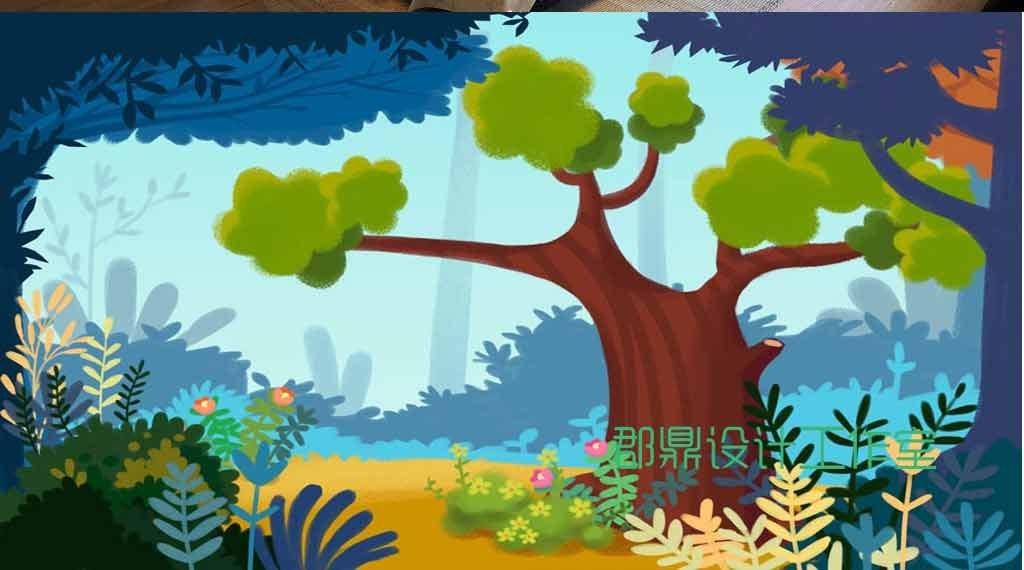 作品模板源文件可以编辑替换,设计作品简介: 卡通绘画森林里的大树