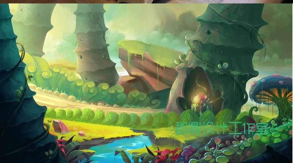 卡通手绘绘画森林里绿色的树洞