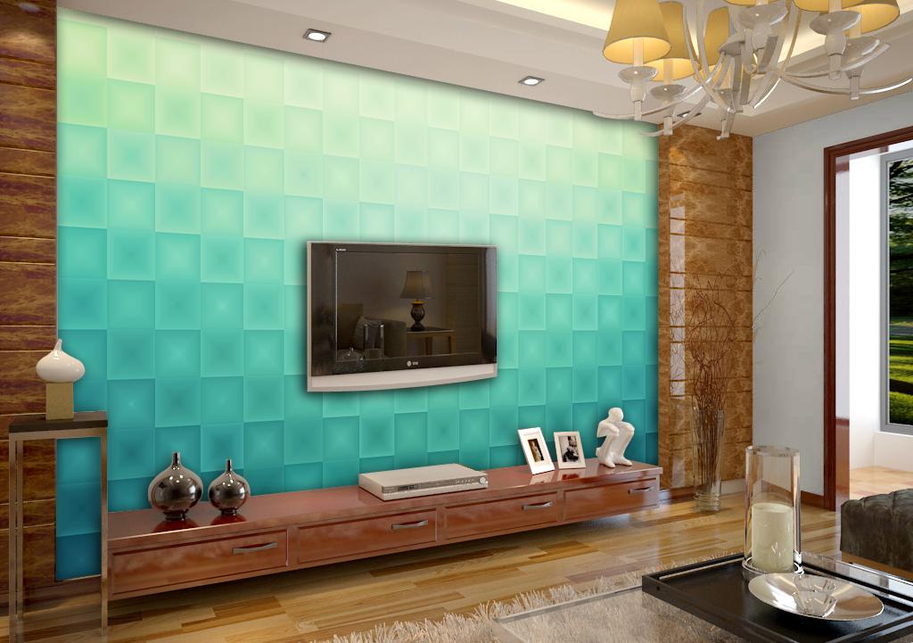 唯美蓝色马赛克电视背景墙
