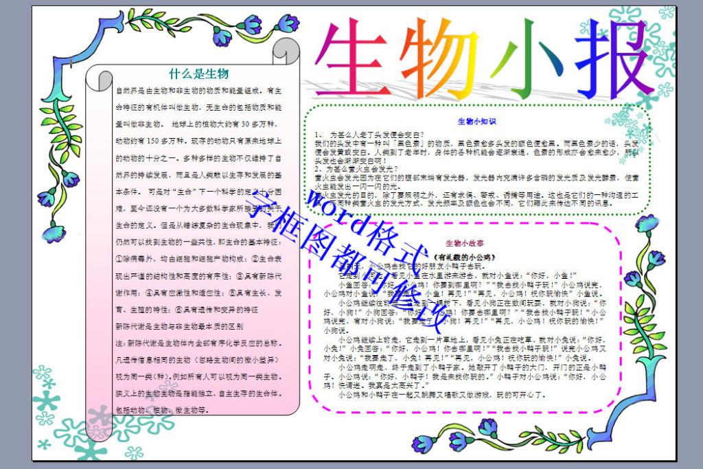 a3生物小报版面设计样本