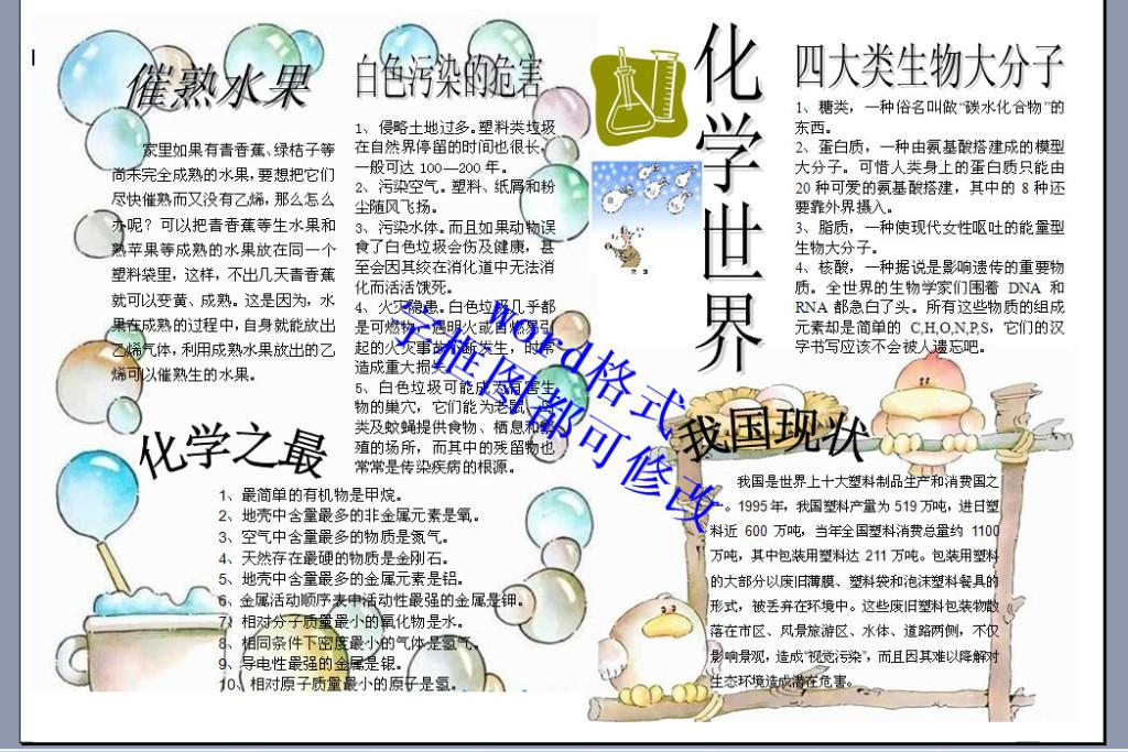 a4化学世界手抄报小报版面设计模板下载图片