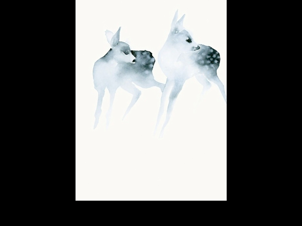 麋鹿图片手绘 水粉