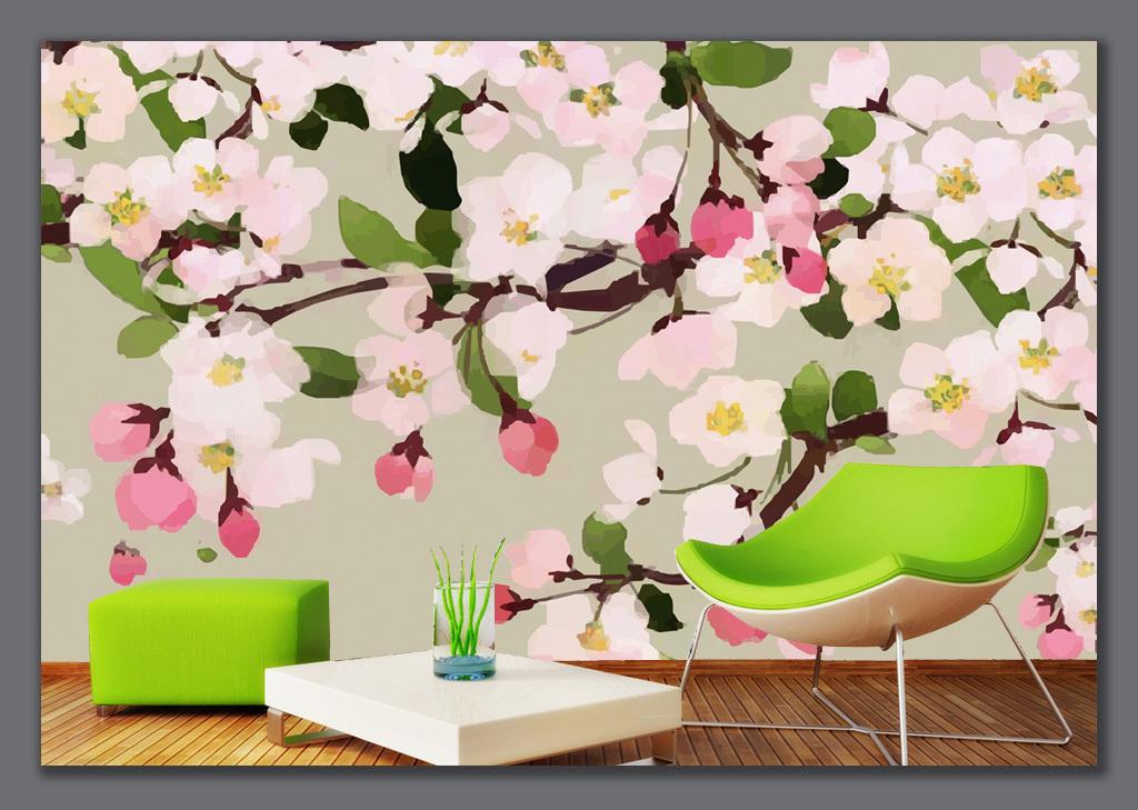 手绘海棠手绘花卉背景墙