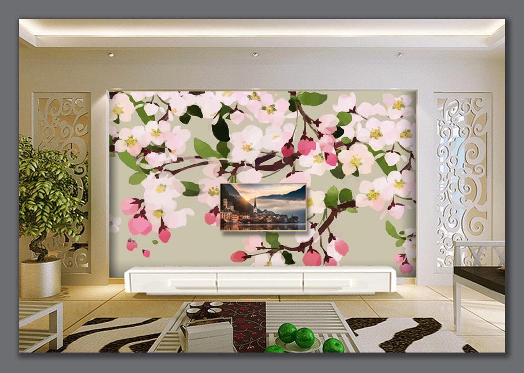 背景墙 电视背景墙 手绘电视背景墙 > 手绘海棠手绘花卉背景墙
