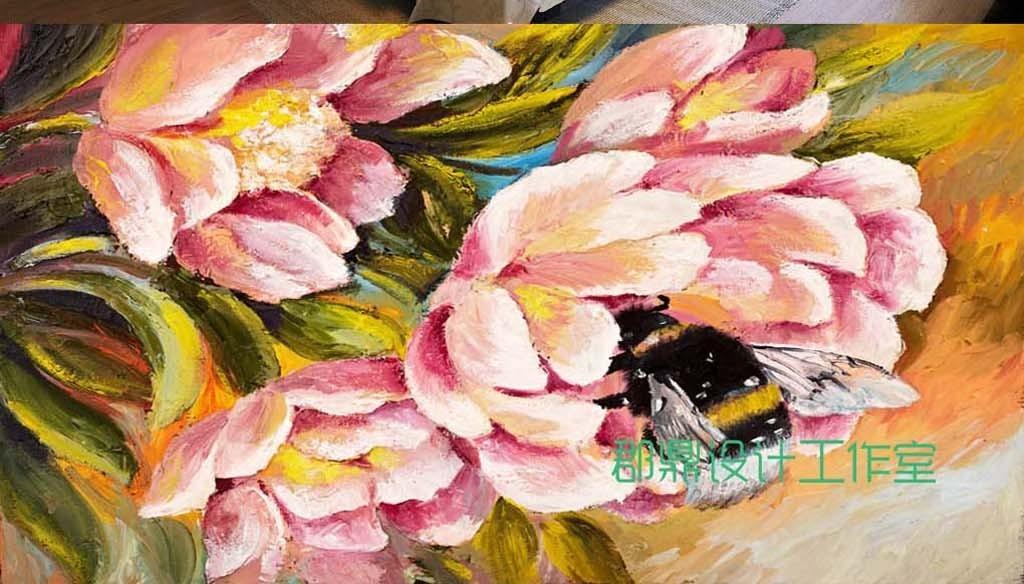 巨幅粉红色油画手绘花卉花朵背景墙