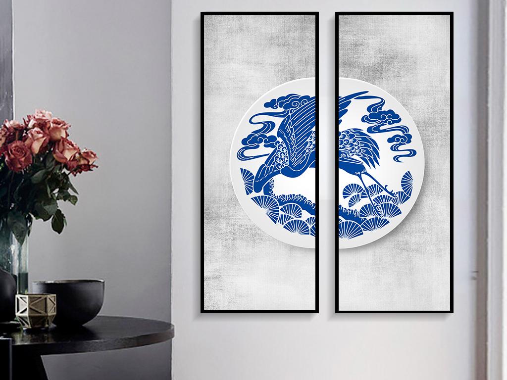 新中式风格青花瓷花纹无框画装饰画图片