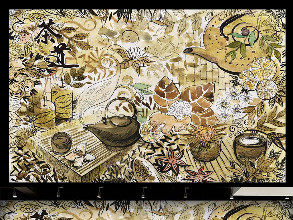 背景墙|装饰画 电视背景墙 手绘电视背景墙 > 茶道水彩手绘背景墙