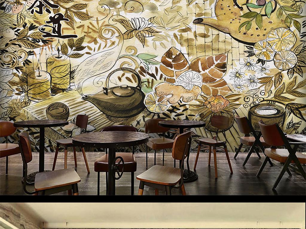茶道水彩手绘背景墙