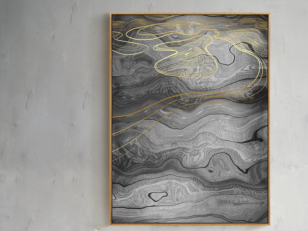 新中式复古抽象木纹线条装饰画无框画