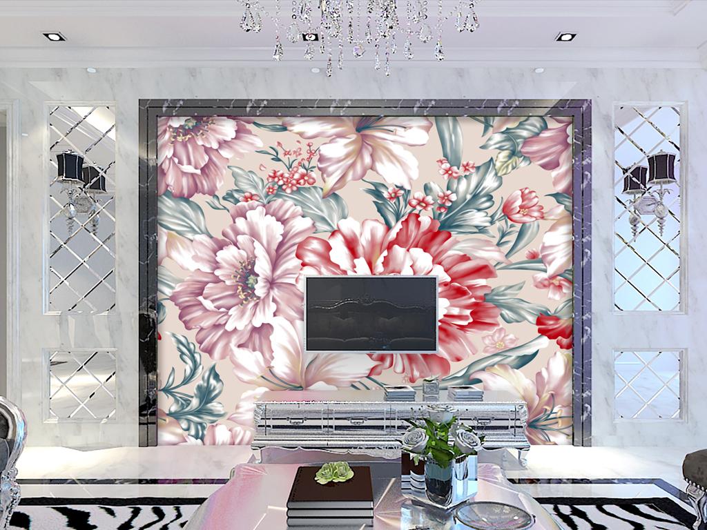 手绘花朵牡丹花背景墙