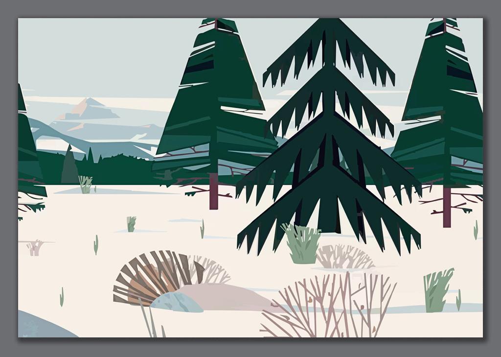 手绘北欧风格抽象高山树林背景墙装饰画手绘画手绘风格松树林绿色树林