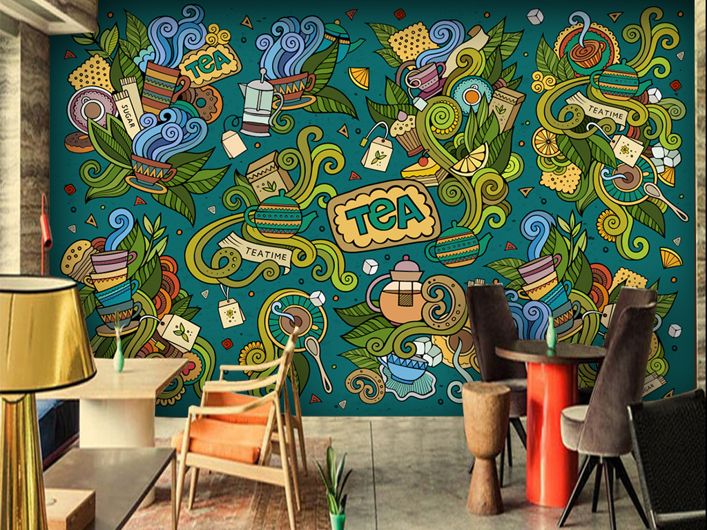 茶餐厅手绘艺术涂鸦背景墙