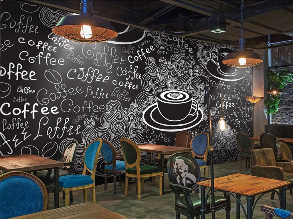 手绘涂鸦咖啡厅背景墙(图片编号:15700377)_酒店|餐饮