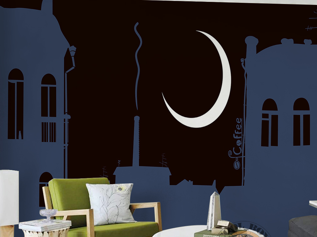 北欧现代简约手绘夜晚建筑月亮咖啡馆背景墙