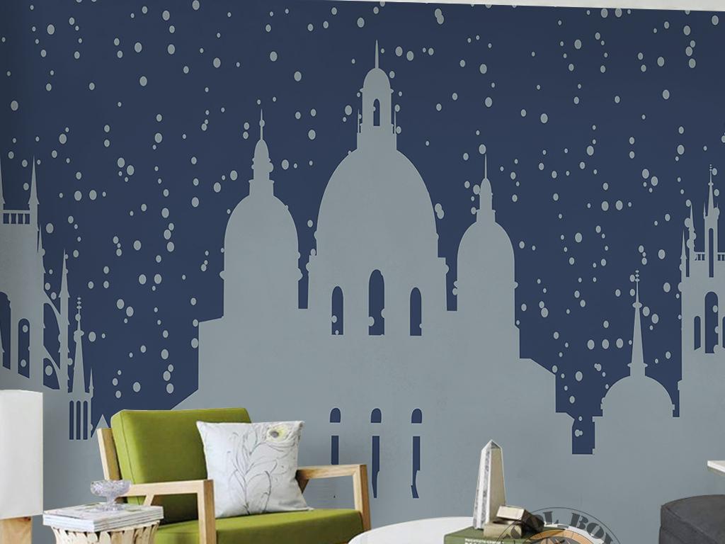 蓝色星空抽象古堡建筑剪影手绘北欧背景墙