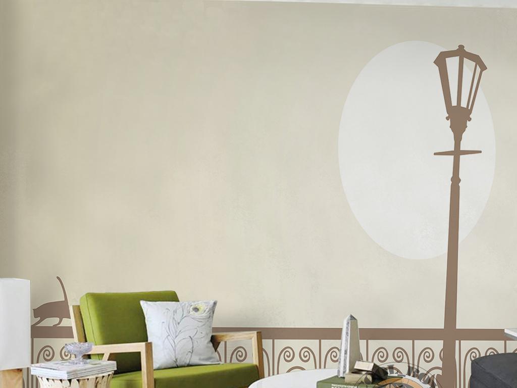 现代简约时尚手绘北欧素雅路灯猫咪背景墙