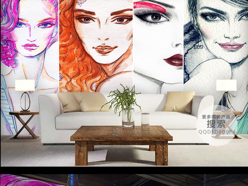 时尚背景手绘水彩水彩手绘水彩美女时尚手绘背景墙壁纸壁画