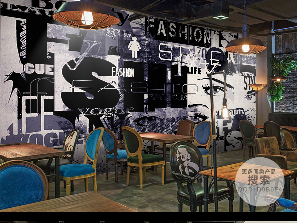卖场|服装店背景墙 > 时尚涂鸦个性美女背景墙
