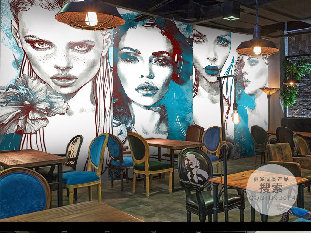 水彩手绘时尚美女背景墙
