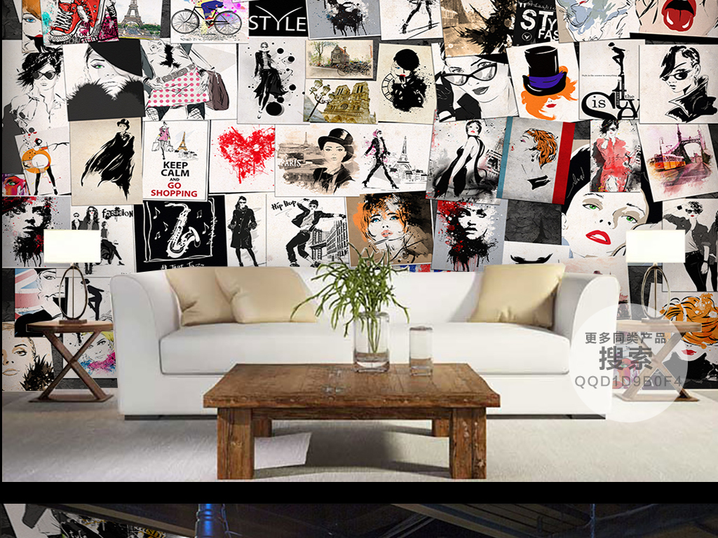 手绘背景墙壁纸壁画客厅电视大厅大堂酒店酒吧ktv服装店美发店美发