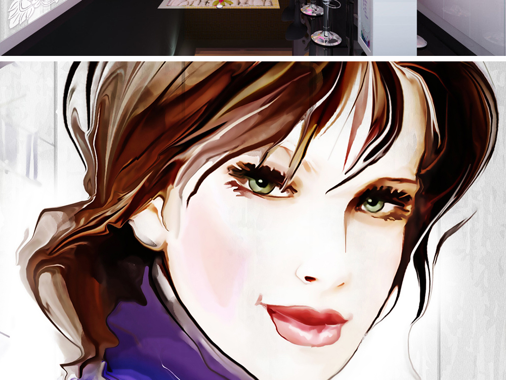 花样年华手绘美女彩妆工作背景墙