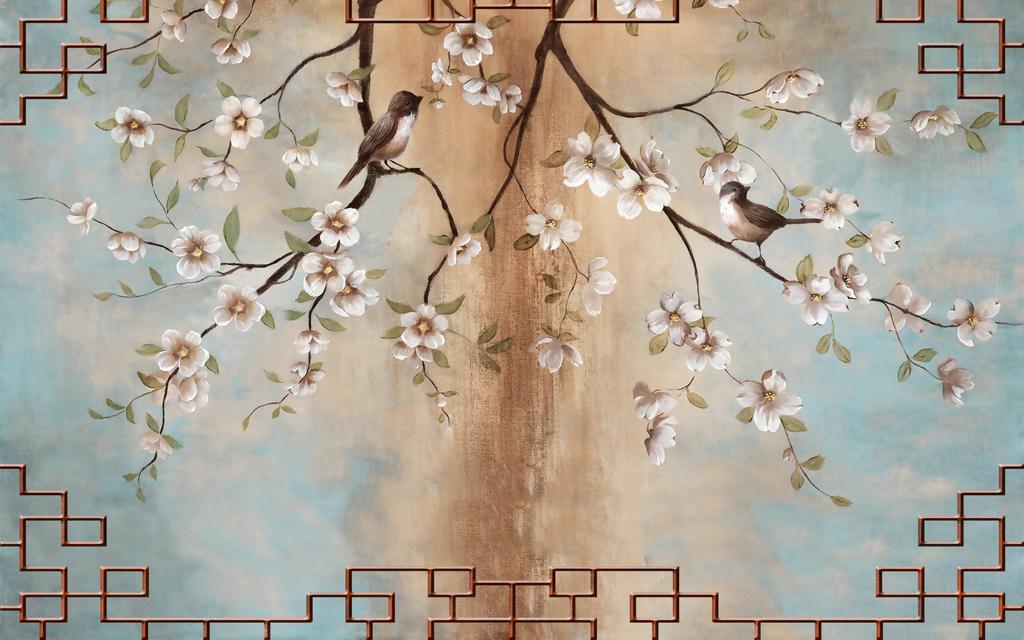 水墨山水壁纸壁画燕子花鸟手绘壁画壁纸壁画瓷砖背景墙玉兰手绘玉兰花
