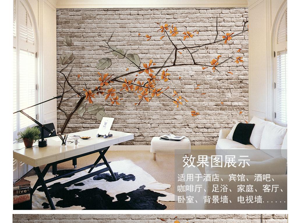 手绘美式砖墙背景墙装饰画