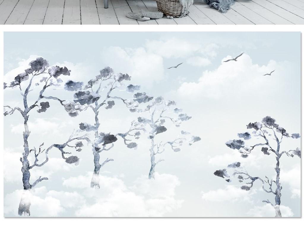 北欧背景飞鸟天蓝色大气客厅背景墙素雅卧室主卧床头背景墙贴图瓷砖画图片