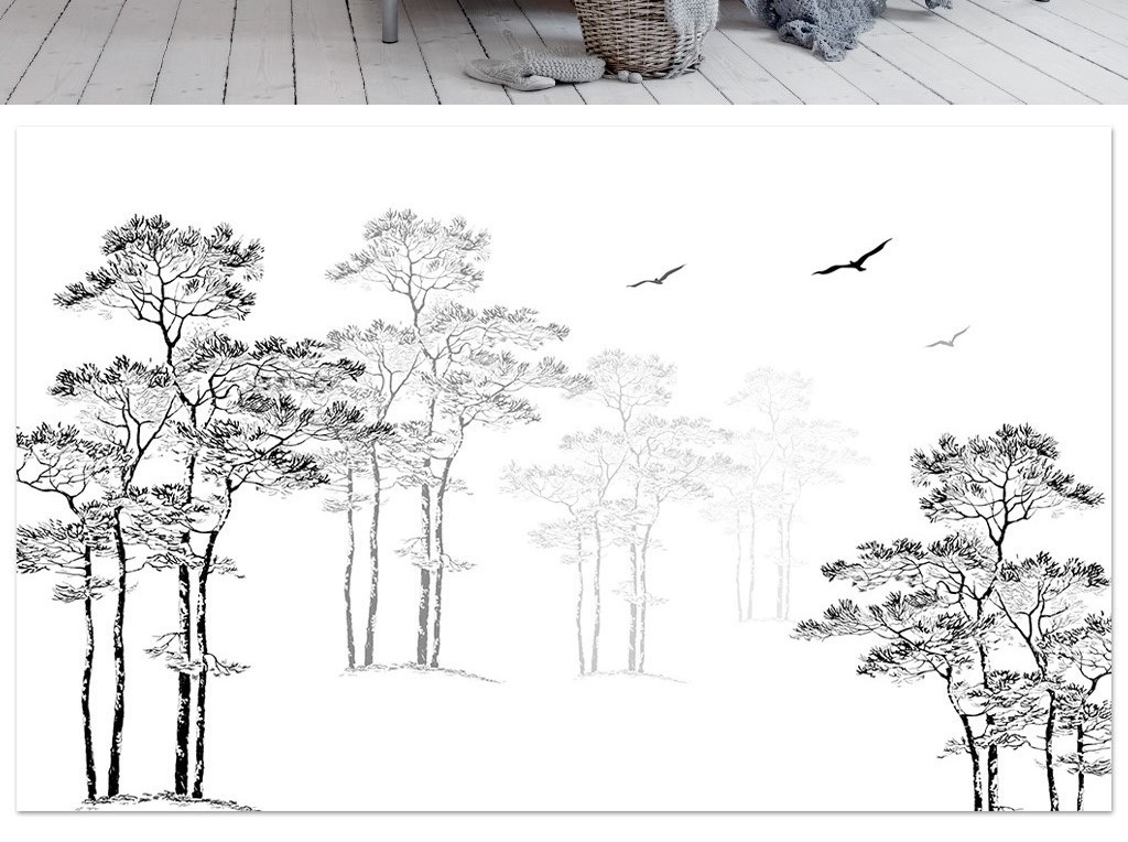 黑白素描风格简约北欧抽象树飞鸟电视背景墙