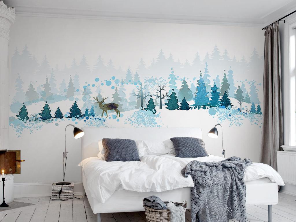 清新极简北欧风格抽象树林麋鹿山坡背景墙