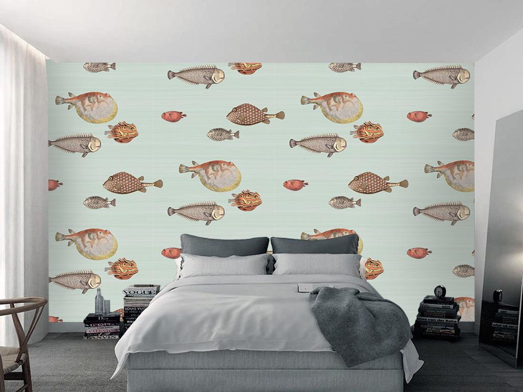 欧式复古手绘鱼群背景墙