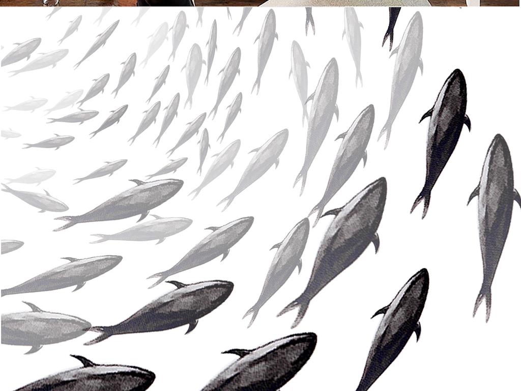 现代简约黑白水墨鱼