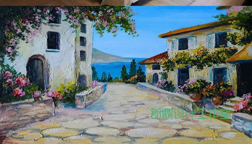 巨幅手绘风景油画乡村房子背景墙壁纸
