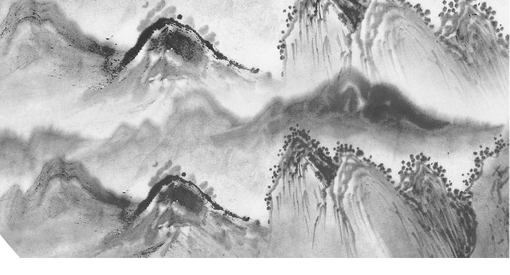 现代简约黑白水墨山水画图片