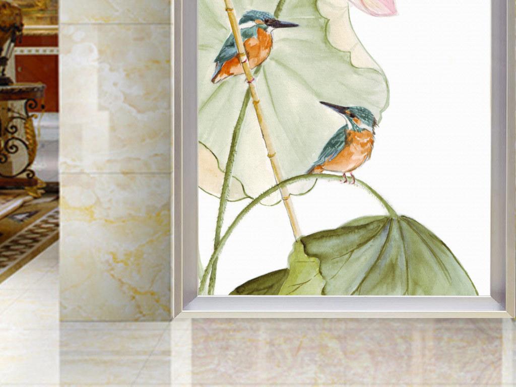 唯美手绘荷花玄关背景墙