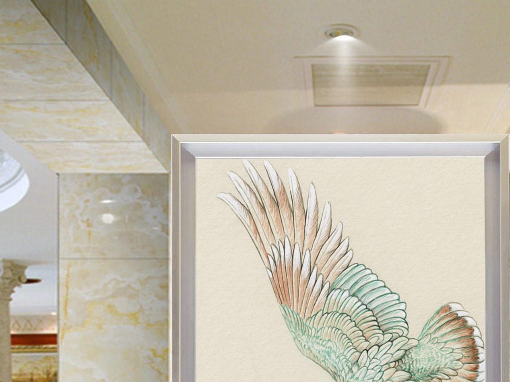 手绘小鸟玄关背景墙