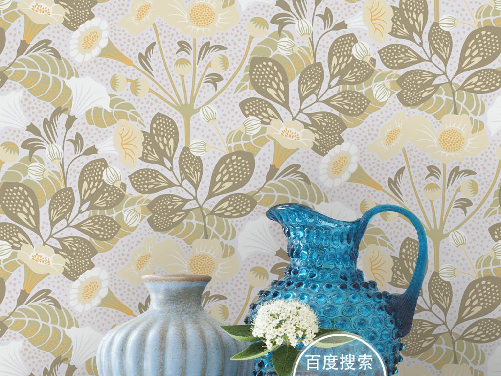 欧式韩式田园手绘花纹花卉图案壁画壁纸墙纸