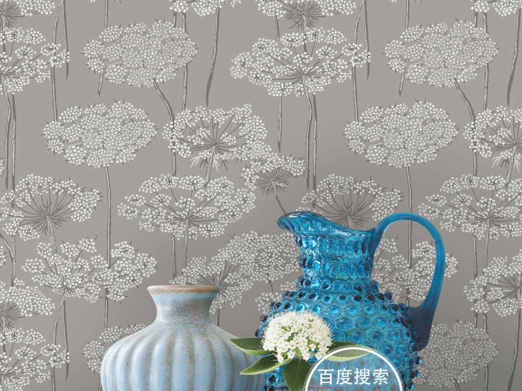 欧式韩式手绘田园花纹花卉图案壁画壁纸墙纸