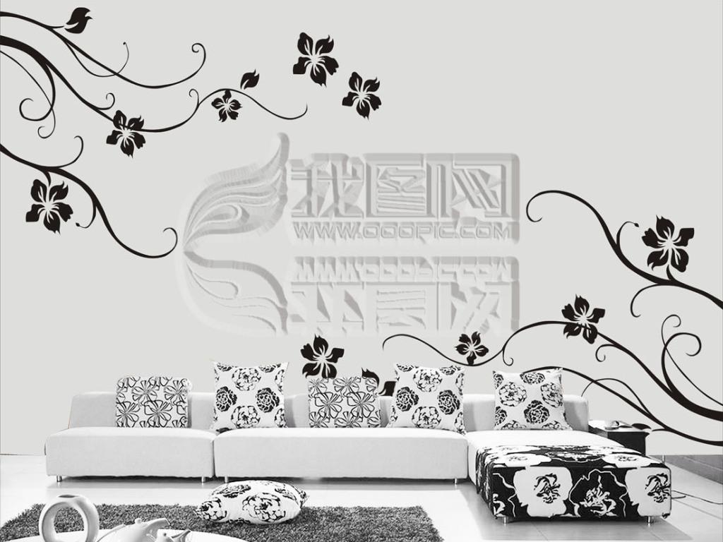 背景墙|装饰画 电视背景墙 手绘电视背景墙 > 矢量墙纸黑色小花背景墙